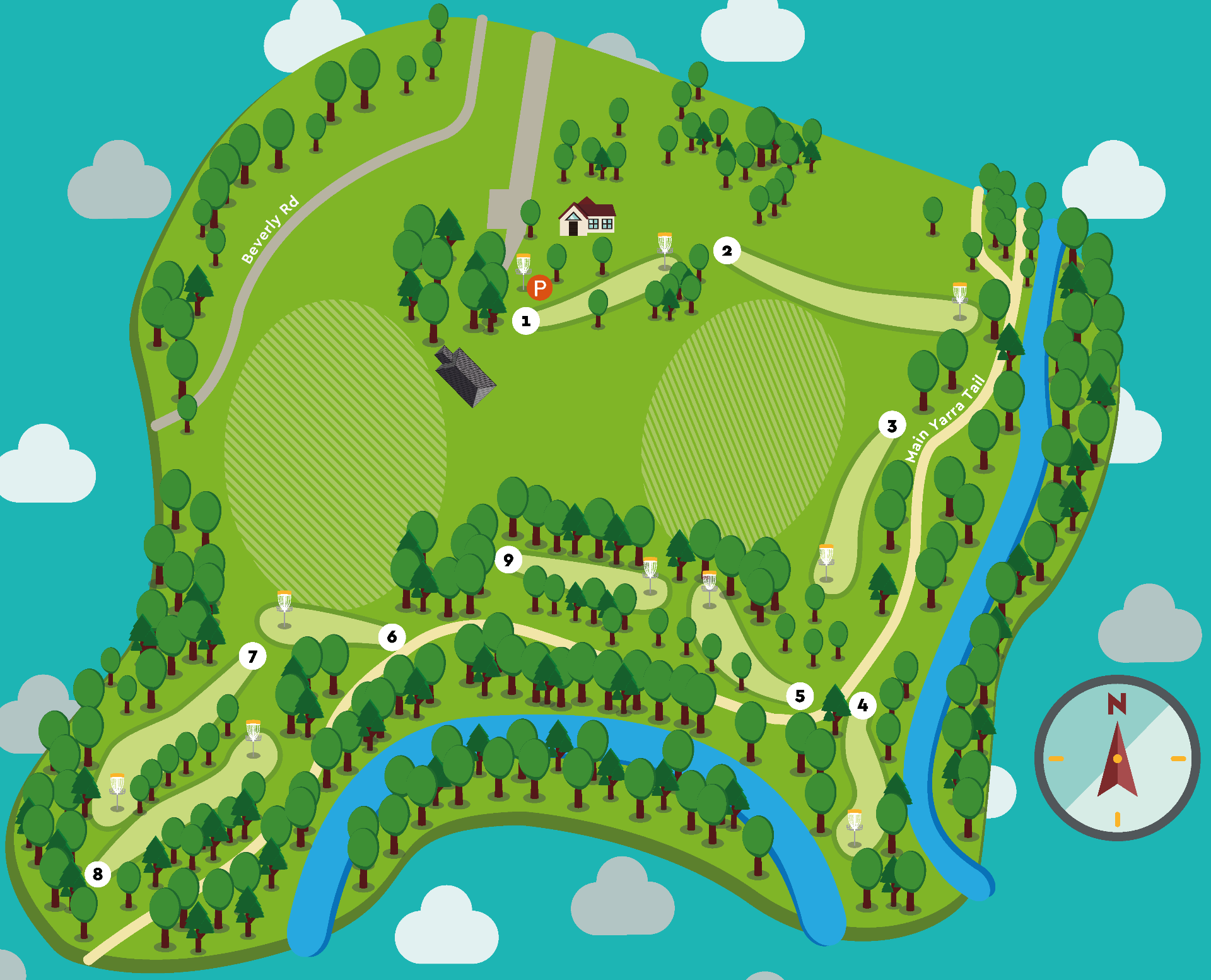 Disc golf course map for Warringal Parklands