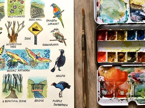 Portion of an illustration of things to spot on a nature treasure hunt, along side a paint brush and paint pallet.