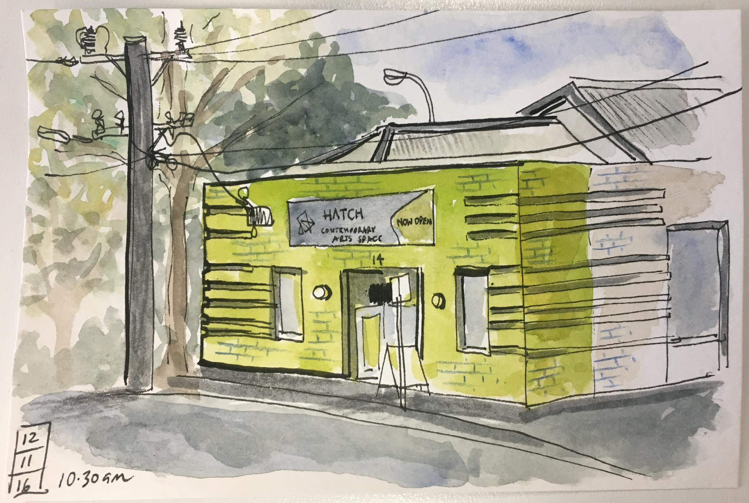 Watercolour sketch of the Hatch Contemporary Art Space street front by local artist Jodi Wiley, 12 November 2016
